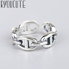 Exaggerated Retro Silver Color Hollow Chains Rings For Women Engagement Rings Vintage Girls Open Jewelry