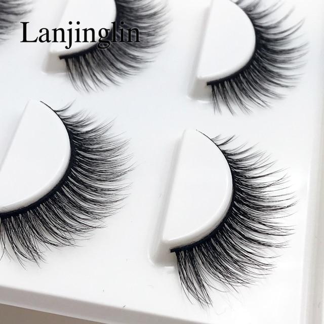 New 3 pairs natural false eyelashes fake lashes long makeup 3d mink lashes extension eyelash mink eyelashes for beauty #X11 1