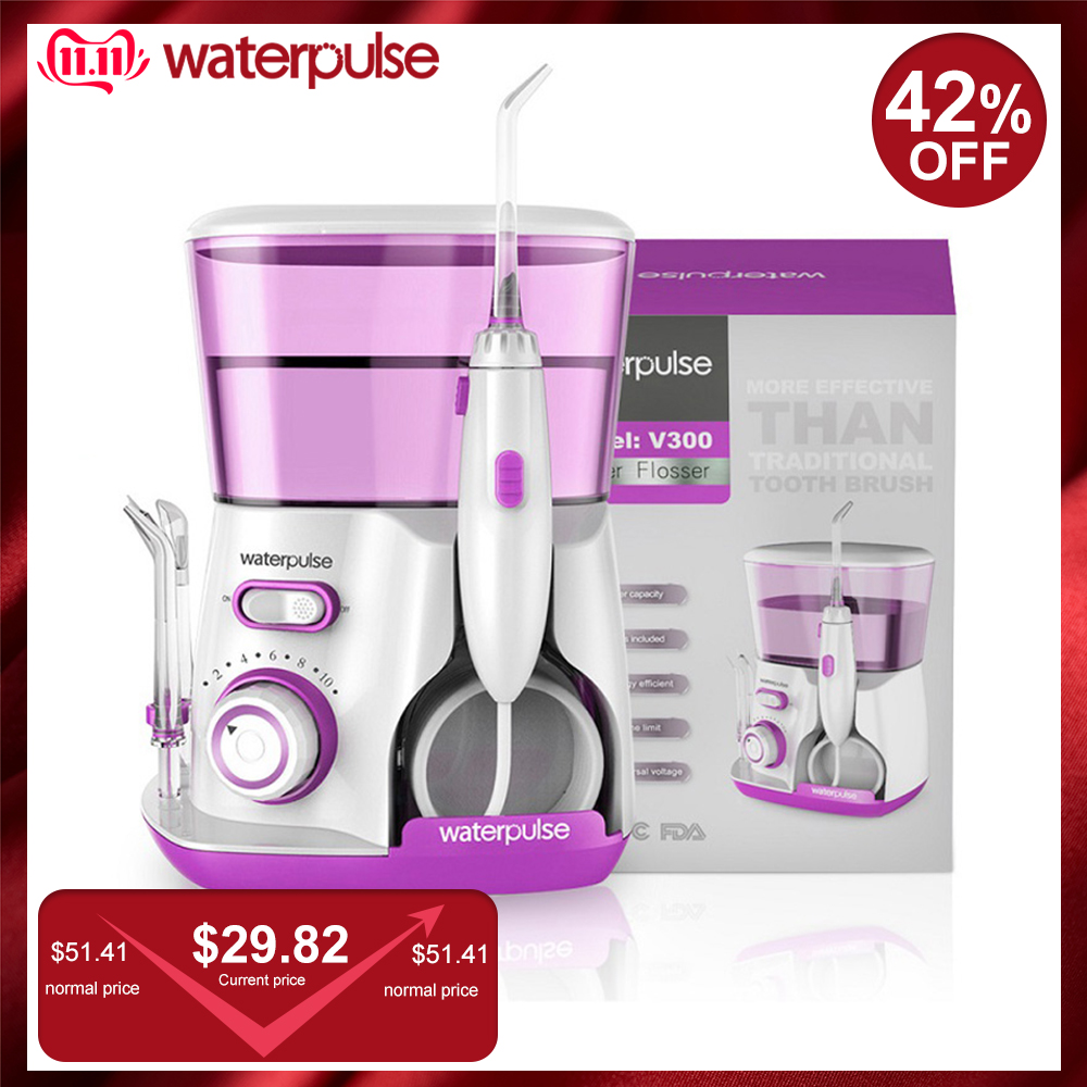 Waterpulse V300R Water Flosser With 5 Tips Electric Oral Irrigator Dental Flosser 800ml Capacity Oral Hygiene For Family Care