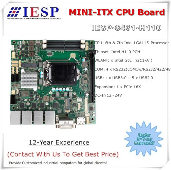 High performance industrial motherboard, LGA1151 Socket Core i3/i5/i7 & Pentium CPU, H110, 4*RS232, 4*GLAN, 4*USB3.0, 5*USB2.0 image