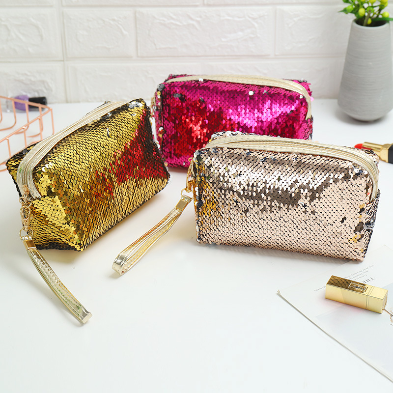 Trevel Storage Bag Women Cosmetic Bag Fashion High Quality Clutch Bag Daily Use Make up bag Sequined Portable Cute Women
