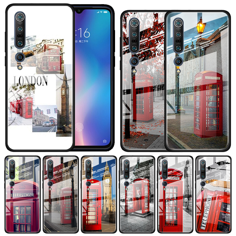London Big Ben Bus Tempered Glass Case For Xiaomi Mi Note 10 Pro CC9 CC9E A3 9T 8 Lite 10 Lite 5G Poco X2 Cover Coque