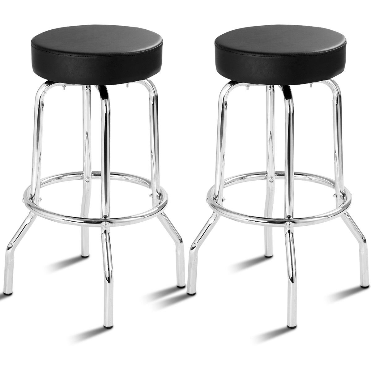 Costway Set Of 2 Bar Stools PU Leather Round Seat Backless Swivel Pub Kitchen Furniture