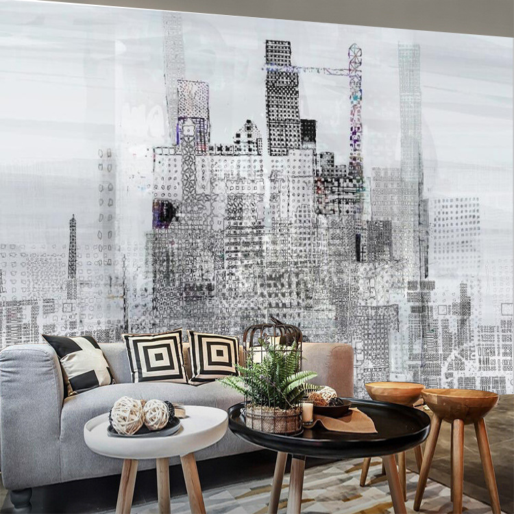 Large Mural 3D European Style New York Times Square Hand-Painted Street View Wallpaper Wall Black And White City Hand-Painted