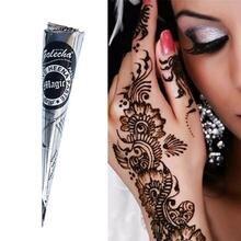Indische Henna Tattoo Paste Kegel Wasserdicht Mehndi Temporäre Körper Malen Diy Zeichnung Tinten Aufkleber Körper Kunst Creme Schablone Mode