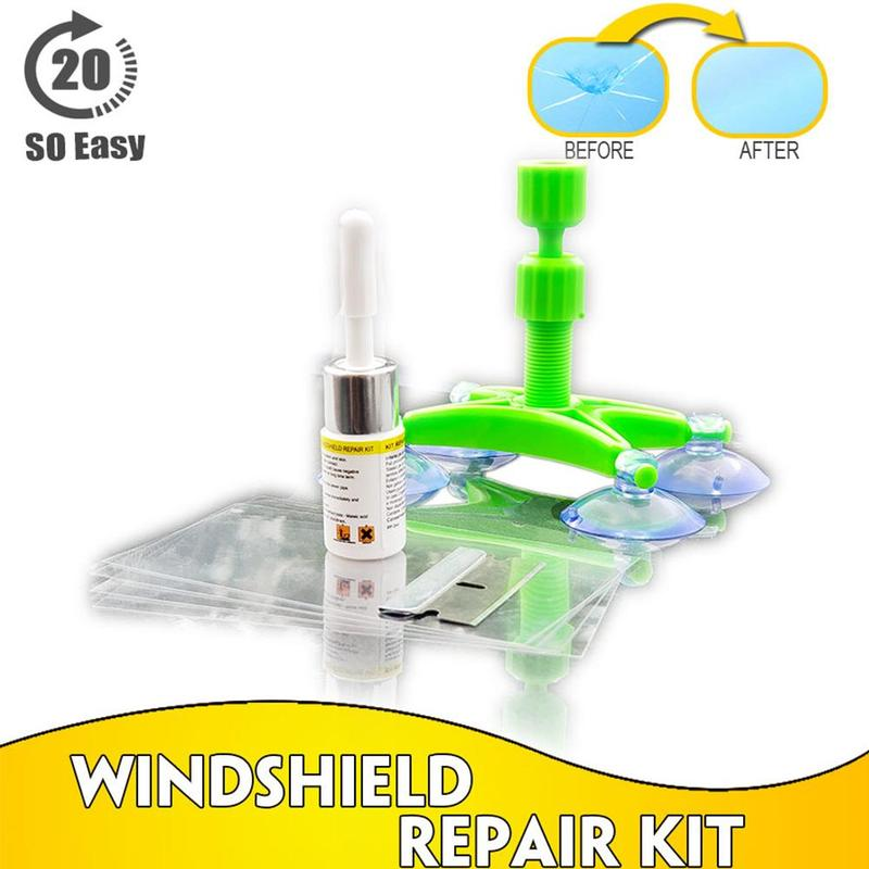 Windshield Repair Kit Quick Fix Car Cracked Glass Windscreen Repair Tool Kit Resin Sealer DIY Auto Window Screen Polishing