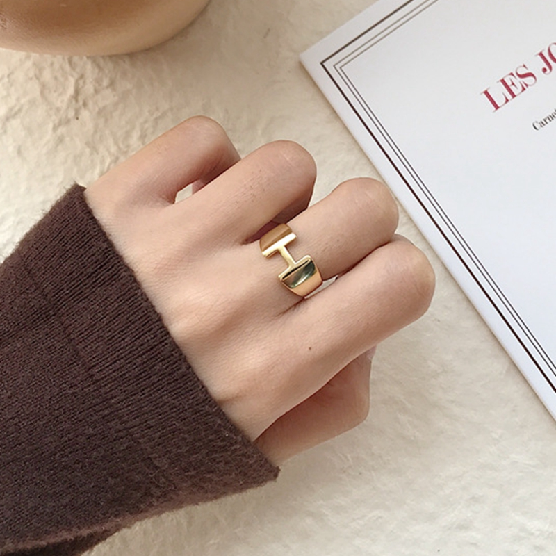 Silvology 925 Sterling Silver Gold H Letter Rings Minimalist Glossy Elegant Temperament Open Rings For Women Festival Jewelry