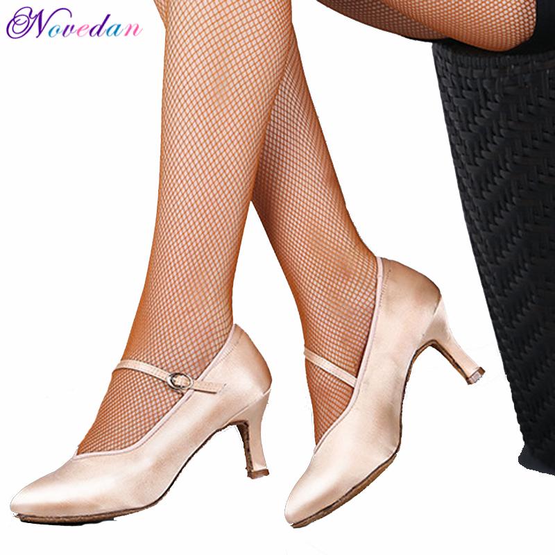 Dance Women Standard Shoes Satin High Heel Ladies Ballroom Dance Shoes Closed Toe Modern Quickstep Foxtrot Waltz Dance Shoes