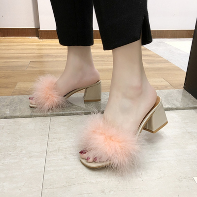 Summer Fashion Sexy Fish Mouth Stitching Fur Slippers Fashion Outdoor With 6CM High Heel Sandals And Slippers.