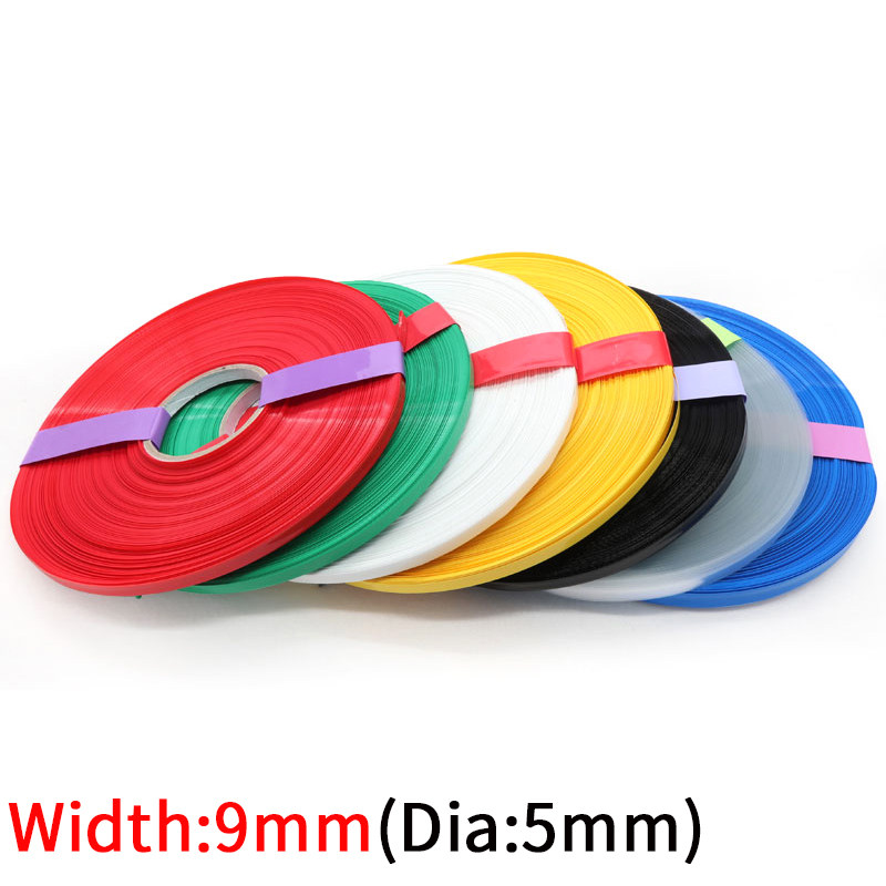 5M genişliği 9mm PVC ısı borusu Shrink Dia 5mm lityum pil yalıtımlı streç Film koruma çantası paketi tel kablo kılıfı renkli