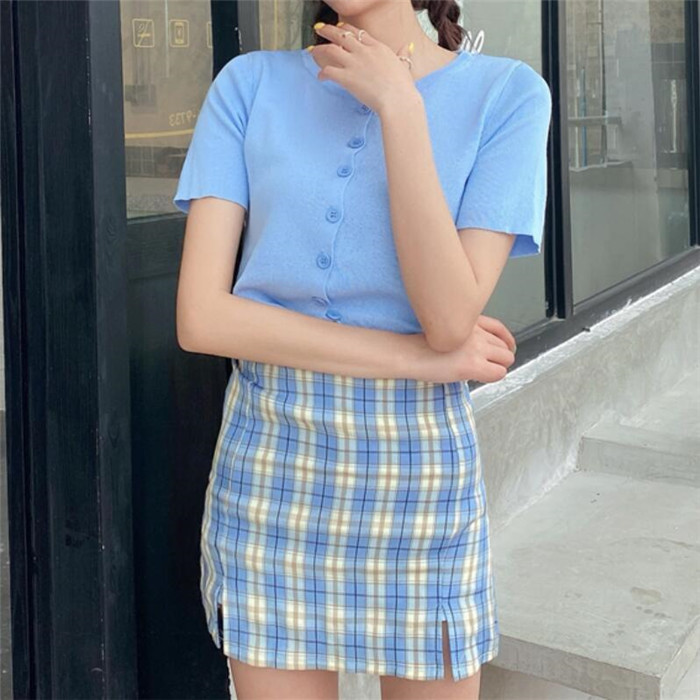 Hd6dd270b9ab2418689455176a867b2958 - Korean Colored Plaid Skirt Women Student Chic Short Skirts Fashion Sexy Mini Skirts Spring Summer Female Skirts