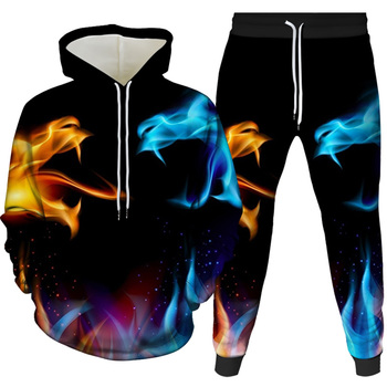 Colorful Dragon Flame Hoodie 3D Sweatshirts Men Women Hoodies Autumn Winter 2021 New Coat Streetwear Hooded print Jackets