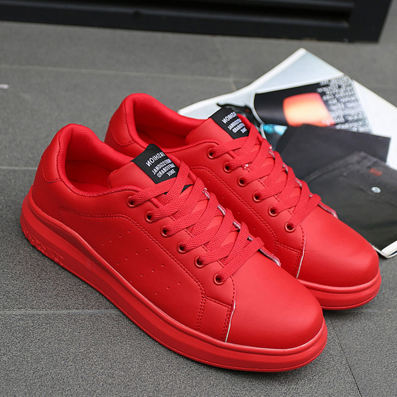 2020 Women Vulcanized Shoes Sneakers Couple Lace-up Red Basket Shoes Breathable Walking Sewing Woman White Casual Flat