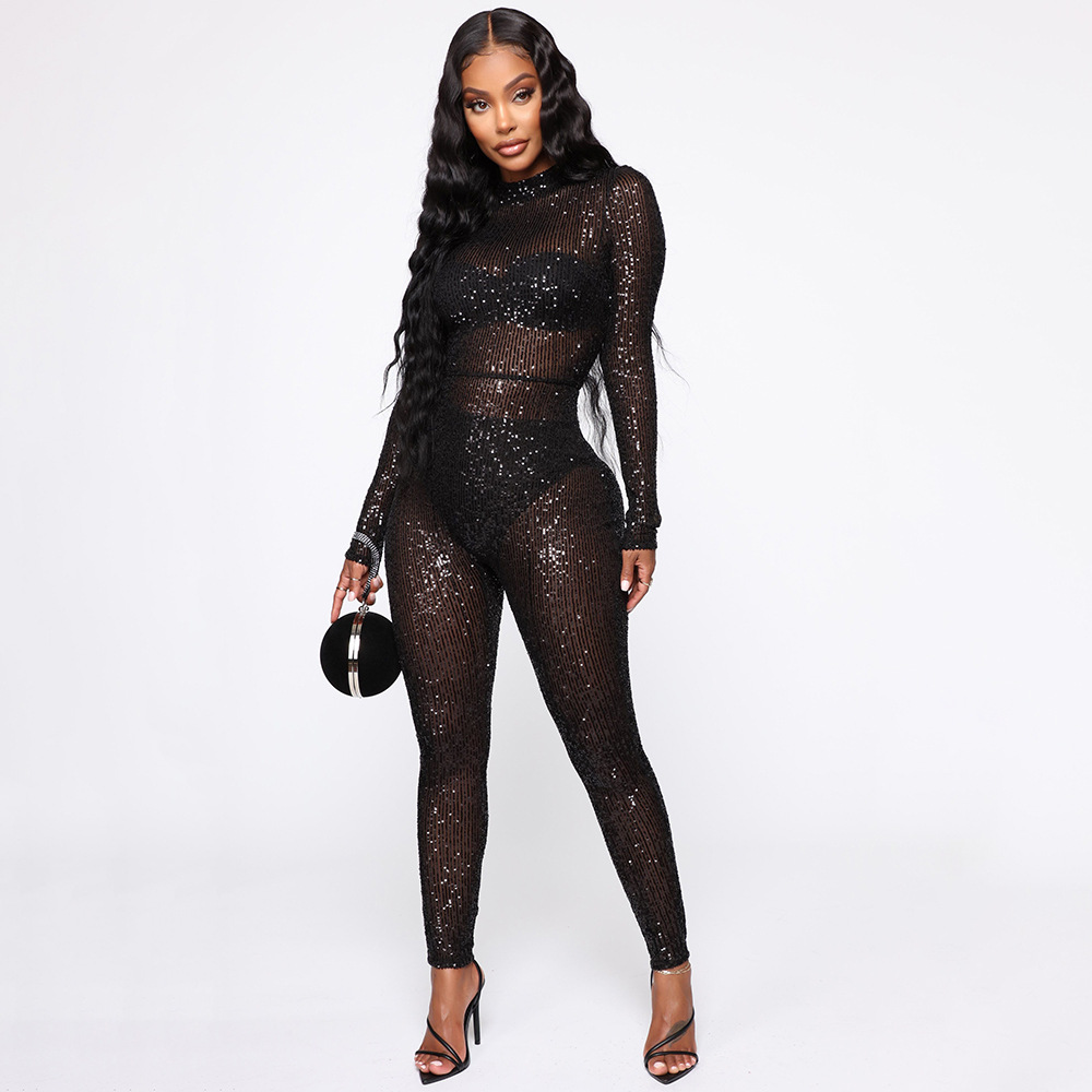 Sexy Mesh Rhinestone Glitter Sheer   Jumpsuit   Women Long Sleeve See-through Sparkly Romper Zipper Back Party Club Long Overalls