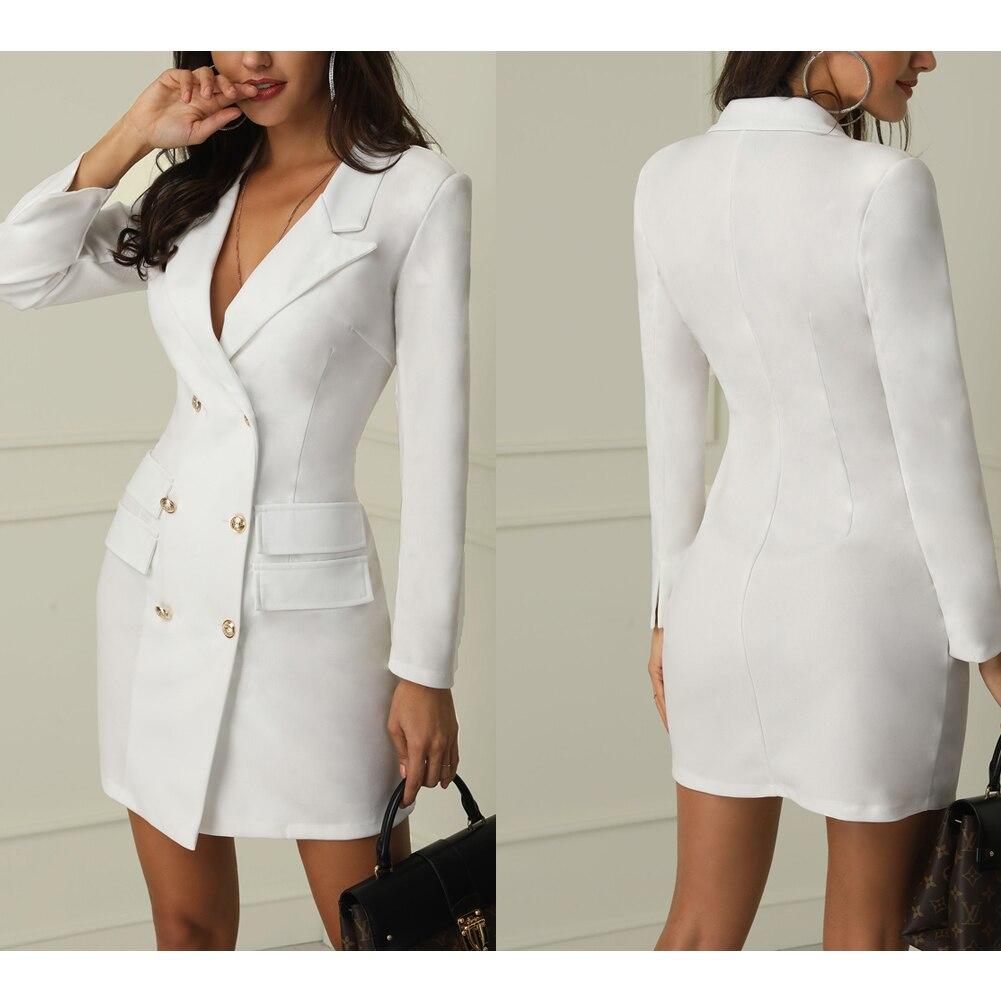 Autumn Winter Suit Blazer Women 19 New Casual Double Breasted Pocket Women Long Jackets Elegant Long Sleeve Blazer Outerwear 5