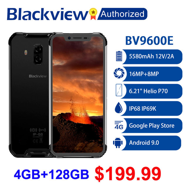 "Blackview BV9600E ทนทานกันน้ำ Helio P70 Global 4G โทรศัพท์มือถือ 6.21 ""Android 9.0 มาร์ทโฟน 4GB RAM 128GB MT6771T 5580mAh"