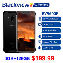 "Blackview telefone celular bv9600e robusto, à prova d água, helio p70, global, 4g, tela 6.21 "", android 9.0, 4gb ram, 128gb mt6771t 5580mah"