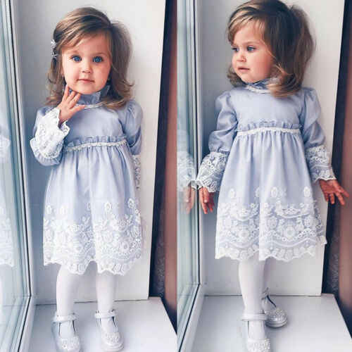 US Flower Girl Princess Lace Dress Kid Baby Party Wedding Pageant Gown Formal Dresses