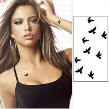 10cm descartável tatuagem temporária adesivos diy festa deco unisex à prova dcute água bonito pássaro preto forma 1 folha de transferência de água adesivos