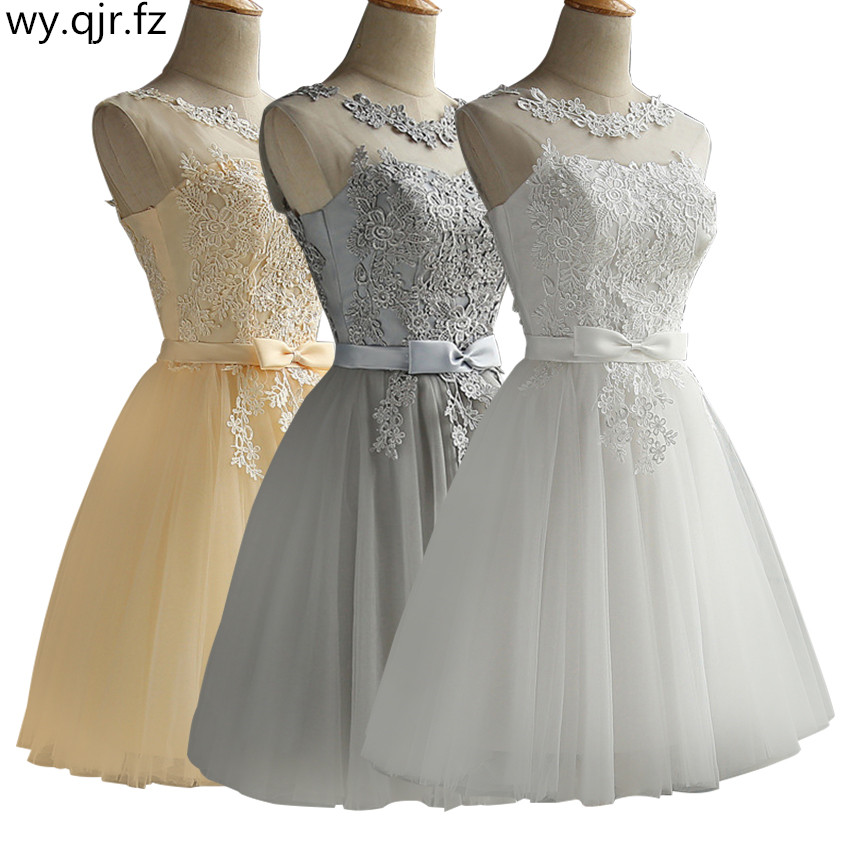 HJZY65S#Short Evening Dresses Cocktail Party Prom Dress Champagne Gary Red White Lace Up Girls Wholesale Ball Gown Embroidery