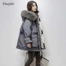 Fitaylor – veste d'hiver à capuche en fourrure de renard naturelle pour femme, parka épaisse 90% duvet de canard blanc, manteau de neige chaud avec ceinture