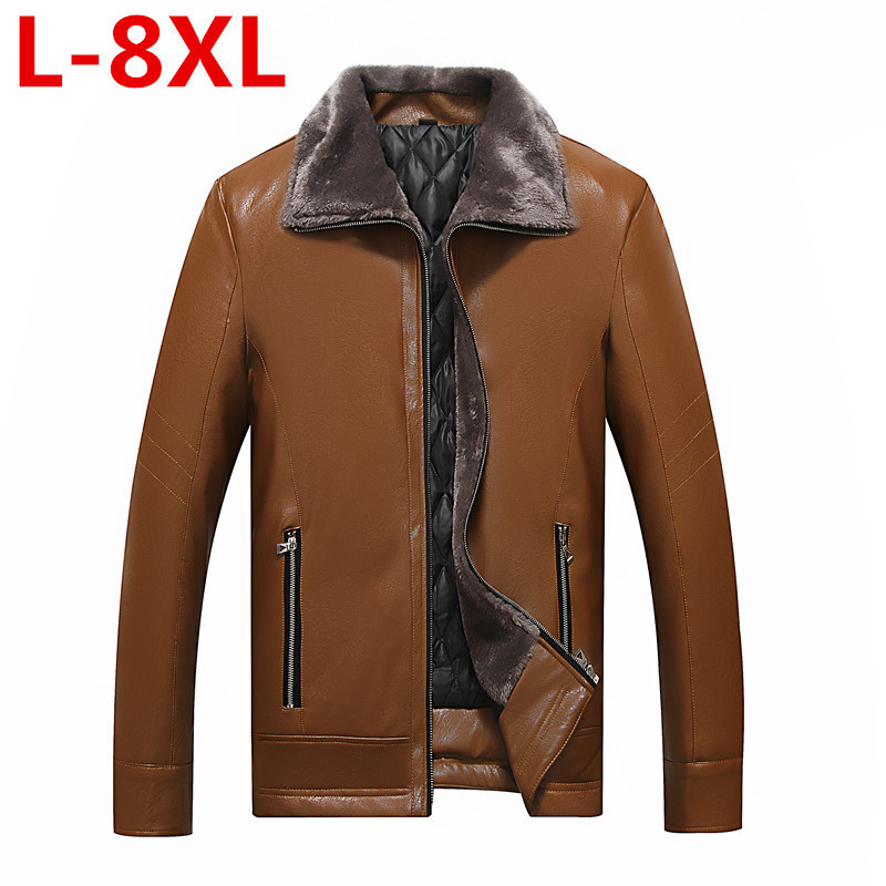 High Quality Large Size  8XL 7XL New Men's Genuine Leather Lapel Male Thick Warm Plus Size Solid Color Fur Lining Outerwear Coat
