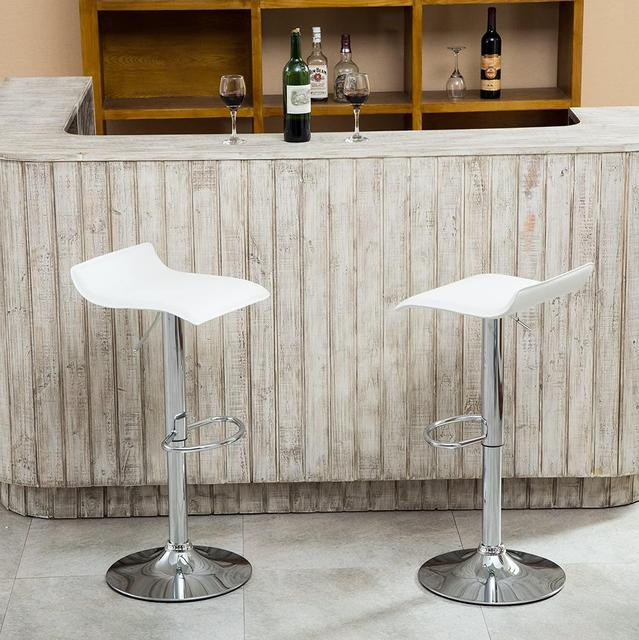 Set of 4 Modern Dining Chairs Soft PU Leather Counter Bar Stools Adjustable Chrome Swivel Stool for Kitchen Pub Salon Office 1