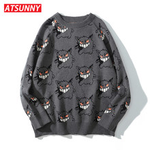 ATSUNNY Embroidery Little Devil Harajuku Sweater Retro Style Knitted Sweater Autumn Pullover Tops