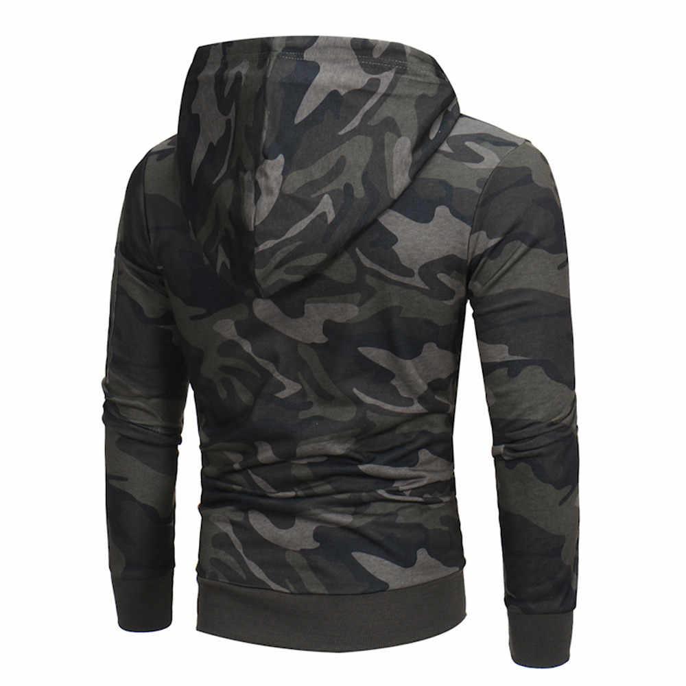 """Wojskowa bluza z kapturem męska """"z długim rękawem kamuflażowa bluza z kapturem bluza z kapturem męska Camo bluza z kapturem Hip topy kurtka płaszcz znosić Plus rozmiar 3XL"""