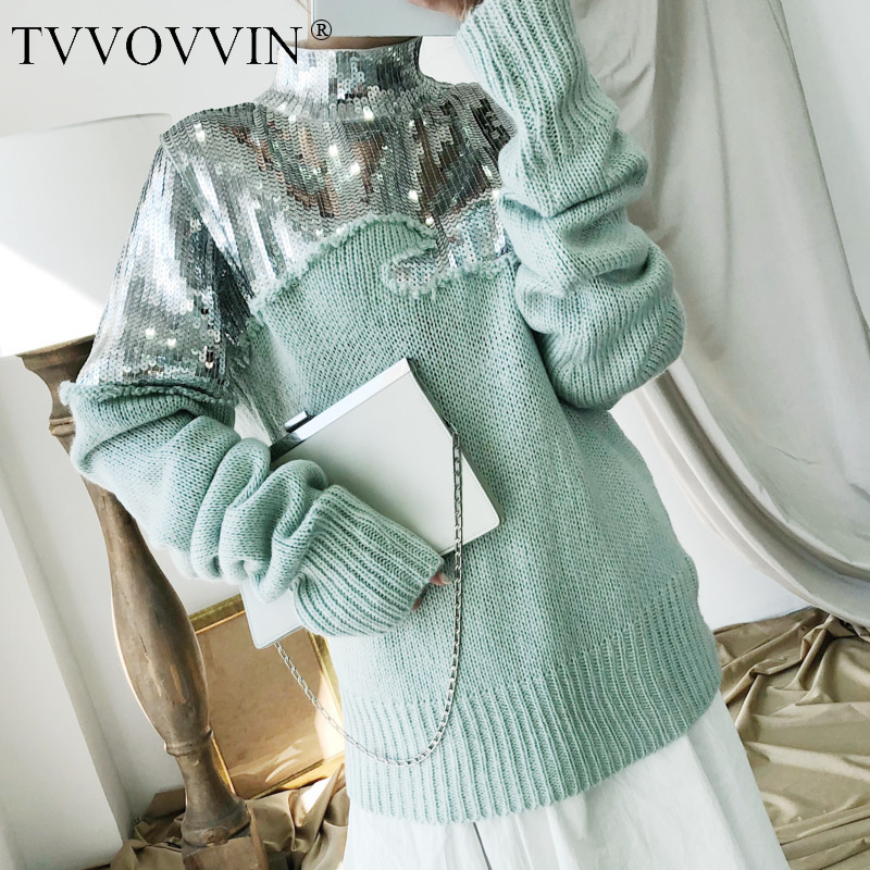 TVVOVVIN 2019  New Turtleneck Sequin Sweatshirt Pullovers Casual Hot Sale Trendy Autumn Winter Knitting Clothes R016