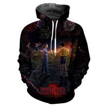 Dropship Stranger Things 3D oversized Hoodie sweatshirt Men/Women/kid 3 Tracksuit Hooded Zipper Jacket clothes