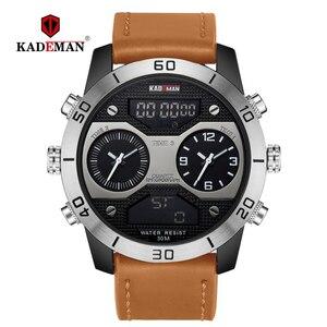 Image 2 - KADEMAN montre bracelet de luxe pour hommes à double affichage, numérique analogique, étanche, grand cadran, horloge de sport militaire