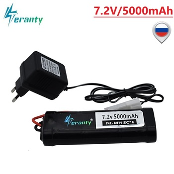High Capacity 7.2V 5000mAh Ni-MH Battery Pack with Tamiya Plug With 7.2v Charger and SC*6 Cells Battery for RC Control Car Toys 7 2v 250mah with tamiya connectors usb charger units for nicd nimh battery pack charger for toy rc car tank boat for ket 2p plug