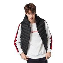 Semir homens de pouco peso com capuz para baixo colete zip bolso com capuz puffer colete impermeável bolso interno inverno para o homem