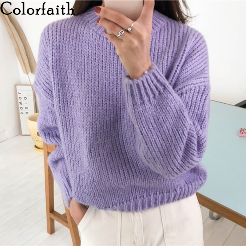 Colorfaith New 2019 Autumn Winter Women's Sweaters Casual Minimalist Tops Fashionable Korean Style Knitting Pink Purple SW5073