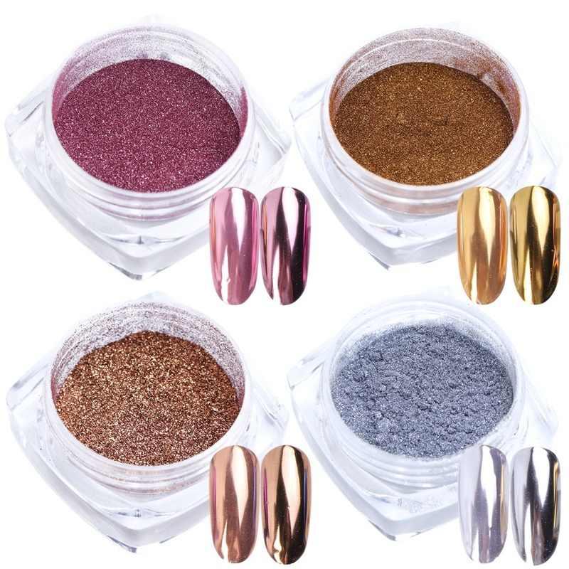 O transporte da gota chrome prata rosa ouro prego espelho pó pigmento pó holográfico glitter polimento para decorações da arte do prego