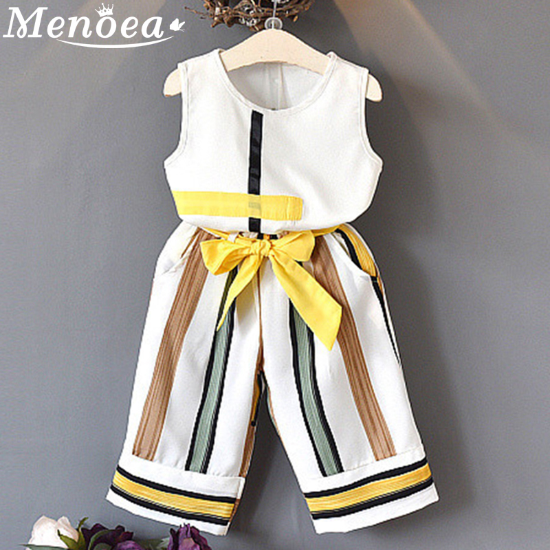 Girls Suits 2019 Clothes Sleeveless Striped Long Pants Clothing Sets For 3-7Y Kids Girl