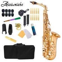 Aisiweier eb saxofone alto nova chegada latão ouro laca instrumento de música e-flat sax com caso acessórios