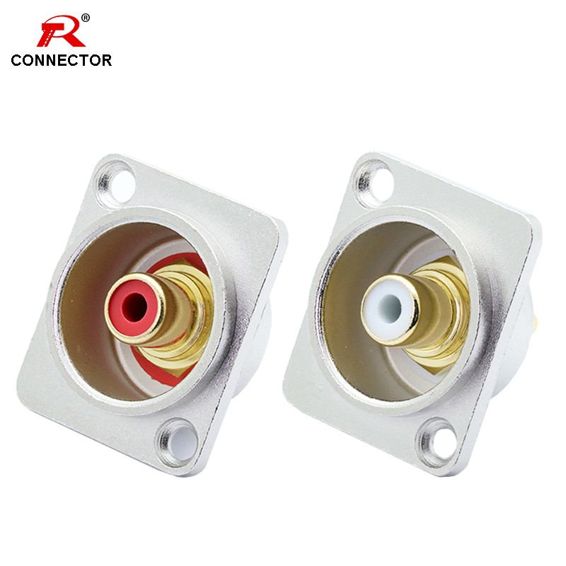 1pc  RCA Panel Mount Chassis Connector, Excellent Quality, Silver RCA Female Socket, Red&White Colors Available