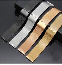 Pulseira milanesa 12mm 14mm 16mm 18mm 20mm 22mm 24mm universal aço inoxidável metal relógio banda pulseira preto rosa ouro