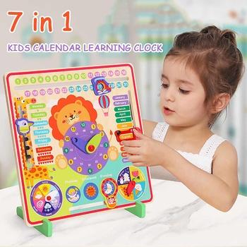 Zegar z kalendarzem pogodowym Montessori zabawki drewniane zegar z kalendarzem czas poznanie przedszkole edukacyjne pomoce nauczycielskie zabawki dla dzieci tanie i dobre opinie JJRC CN (pochodzenie) Urodzenia ~ 24 Miesięcy 2-4 lata 5-7 lat Zwierzęta i Natura