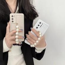 Pols Chain Leuke Parels Mobiele Telefoon Case Voor Huawei Mate30Pro P40Pro Nova5 Nova6 P30Pro Handen Chian Tpu Laser Coque