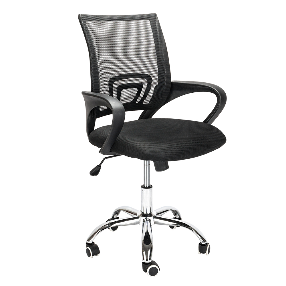 Black Adjustable Office Swivel Chair Breathable Cotton Mesh Seat Cushion Staff Office Meeting Swivel Chair Computer Chair