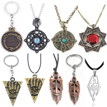 The Elder Scrolls Amulet of Mara Necklace Dinosaur Triangle Cosplay Oblivion Morrowind Amulet Pendant Chokers Gift image