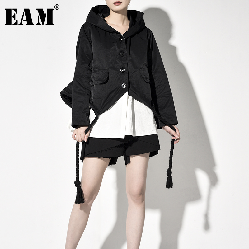 [EAM] Loose Fit Contrast Color Big Size Drawstring Jacket New Hooded Long Sleeve Women Coat Fashion Spring Autumn 2020 JY9060