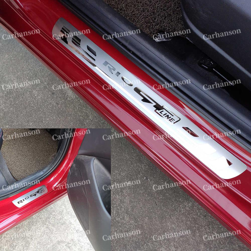 AniFM Accesorio autom/ático Pegatina Styling Door Sill Trim Protection Acero Inoxidable Car Guard Protector para KIA Rio 2002-2013