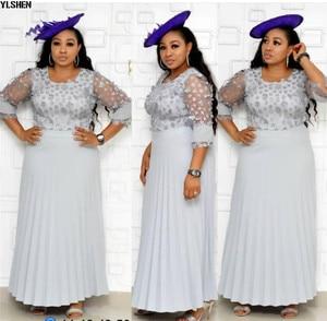 Длинные африканские платья для женщин африканская одежда африканский дизайн Базен кружева плиссированные трехмерный цветок блеск Дашики Платье