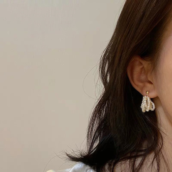 Vintage Baroque Pearl Gold Color Earrings For Women Freshwater Pearl Beads Ear Studs Korean Fashion Jewelry Wedding Accessories 1
