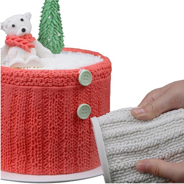 SHENHONG-moule à gâteau Silicone Fondant | Fil de laine, tricot dentelle, motif pâte de sucre, bordure artisanale, moule de décoration