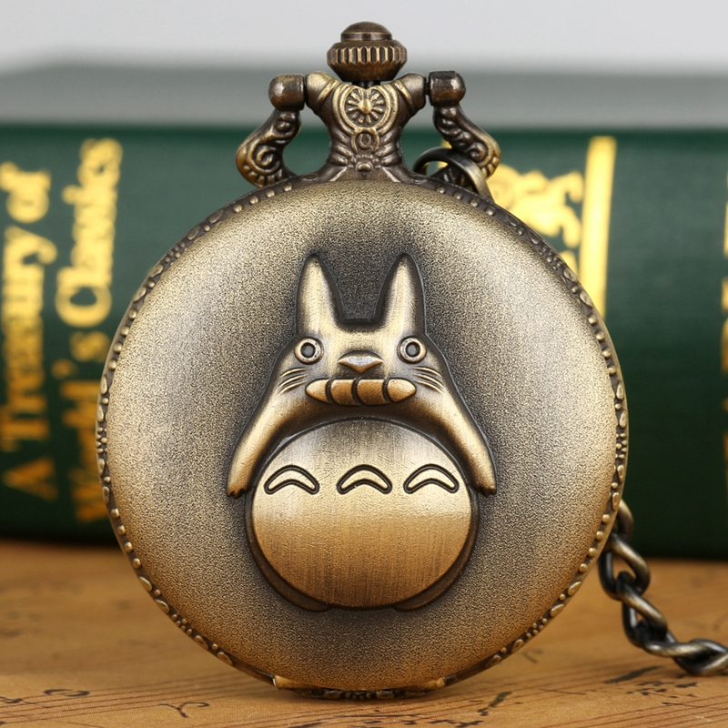 Bronze Totoro Quartz Pocket Watch Chain My Neighbor Totoro Pendant Necklace Jewelry Gifts Sweater Chain For Men Women Students